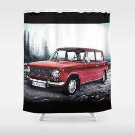 RUSSIAN LADA IN RED WITH SLOVAKIA TATRY MOUNTAINS IN THE BACKGROUND Shower Curtain