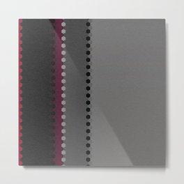 Modern Burgundy Grey Black Stripe Dot Pattern Metal Print