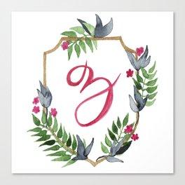 Jungle Gold Monogram Crest Z Canvas Print