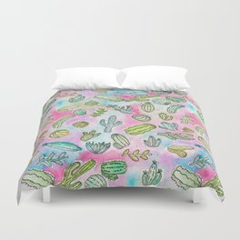 Cute Girly Watercolor Paint Summer Cactus Pattern Duvet Cover