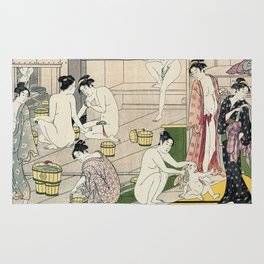 Interior of a Bathhouse by Torii Kiyonaga - Japanese Woodblock Rug
