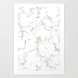 Fine Gold Marble Natural Stone Gold Metallic Veining White Quartz Art Print