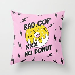 Bad Cop No Donut Black Lives Matter Print Against Police Brutality Throw Pillow