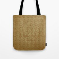 grateful dead Tote Bags featuring Vintage Grateful Dead Steal Your Face Pattern by Studio 535