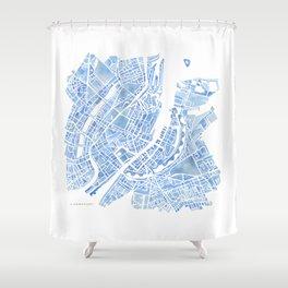 Copenhagen Denmark watercolor city map Shower Curtain