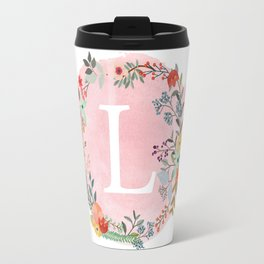 Flower Wreath with Personalized Monogram Initial Letter L on Pink Watercolor Paper Texture Artwork Travel Mug