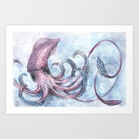 squid Art Prints featuring Squid by Danielle Borisoff