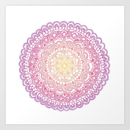 Sunset Mandala  Art Print