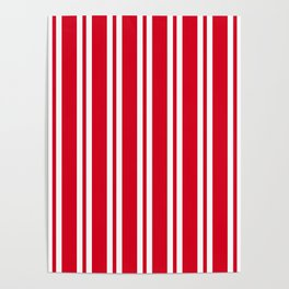 Red and White Wide Small Wide Stripes Poster