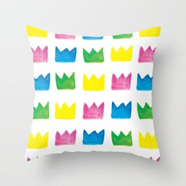 Happy, Happy Crowns Throw Pillow