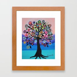 Whimsical Blooming Love Tree of Life Painting Framed Art Print