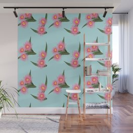 Pink Flowering Gum Australian Native Flora Corymbia Ficifolia Floral on Mint Background Wall Mural