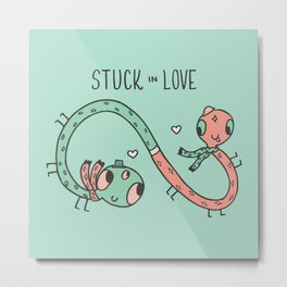 Stuck in Love Illustration Metal Print