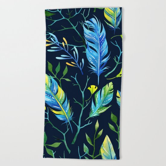 Feathers Pattern 06 Beach Towel