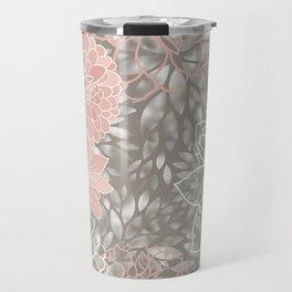 Floral Pattern Dahlias, Blush Pink, Gray, White Travel Mug