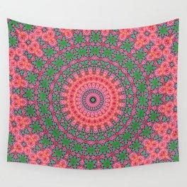 Tropical Pink and Green Mandala Wall Tapestry