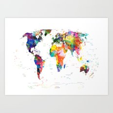 world map political watercolor 2 Art Print