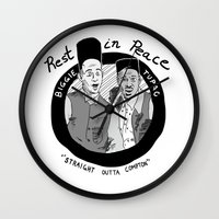 tupac Wall Clocks featuring Legends Series:  Biggie & Tupac by FoodStamp Davis