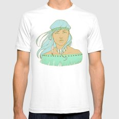 American Indian Nature Goddess in Seafoam White SMALL Mens Fitted Tee