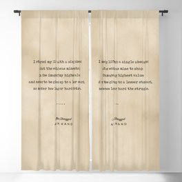 Ayn Rand Quote 01 - Typewriter Quote on Old Paper - Minimalist Literary Print Blackout Curtain
