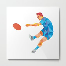 Rugby Player Kicking Ball Low Polygon Metal Print