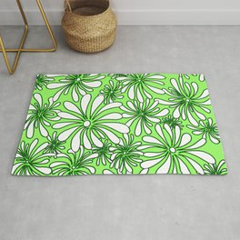 Swirly Flower Green and White Graphic Design Floral Art by Megan Duncanson MADART Rug