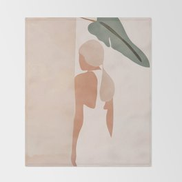 Abstract Woman in a Dress Throw Blanket