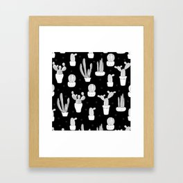 Black and White Desert Cacti Pattern Framed Art Print