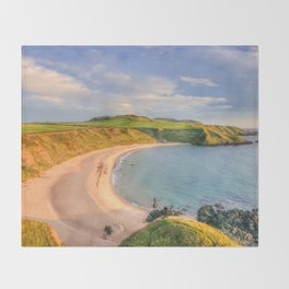Porthor Bay at Sundown Throw Blanket