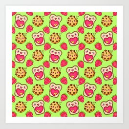 Cute funny sweet adorable happy Kawaii toast with raspberry jam and butter, chocolate chip cookies, red ripe summer strawberries cartoon fantasy lime green pattern design Art Print