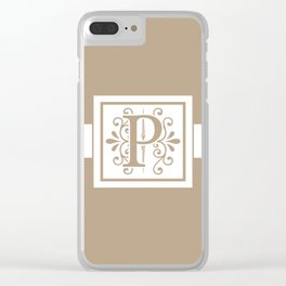 Monogram Letter P on Beige Background Clear iPhone Case