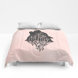 Adventure Wolf - Nature Mountains Wolves Howling Design Black on Pale Pink Comforters