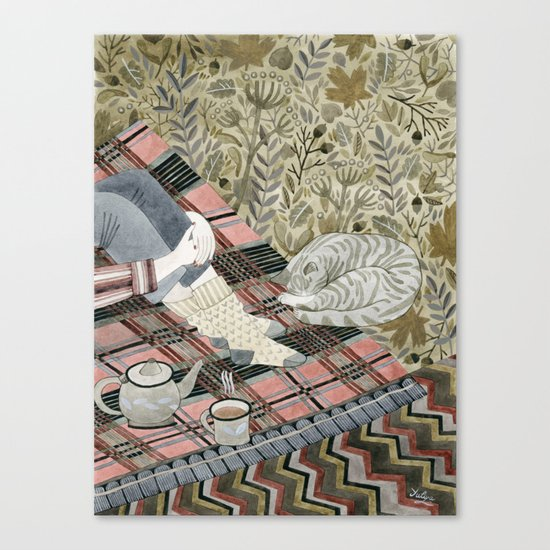 Autumn picnic with my cat Canvas Print