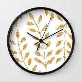 Gold Glitter Fronds Wall Clock