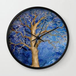 Watercolor Abstract Oak Tree Night Scene Wall Clock