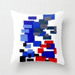 Modern Mid Century Abstract Geometric Cube Square Acrylic Painting Blue With Red Accents Throw Pillow