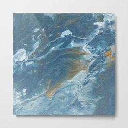 Ocean Flow, pouring abstract acrylic Metal Print