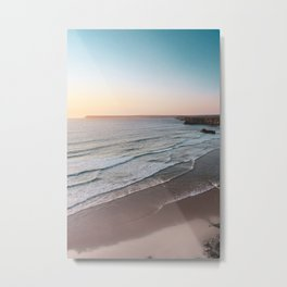 Sunset Beach Print, Sagres Portugal, Printable Photography, Landscape Poster, Waves, Sea Poster Metal Print