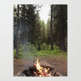 Backpacking Camp Fire Poster