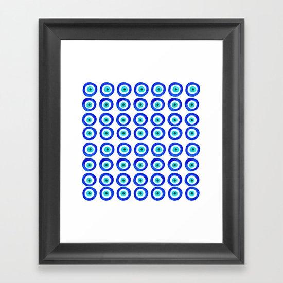 Evil Eye Talisman - on white Framed Art Print