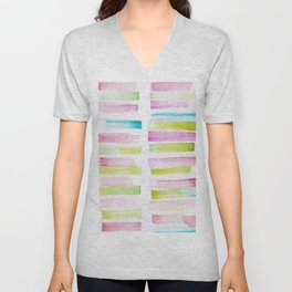 21  | 181101 Watercolour Palette Abstract Art | Lines | Stripes | Unisex V-Neck
