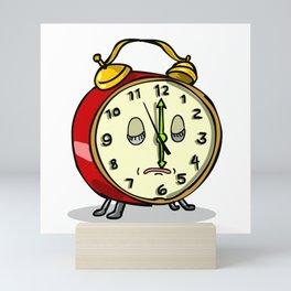 Vintage Alarm Clock Sleeping Cartoon Mini Art Print