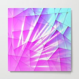 Bright sky fragments of crystals on irregularly shaped purple and blue triangles. Metal Print