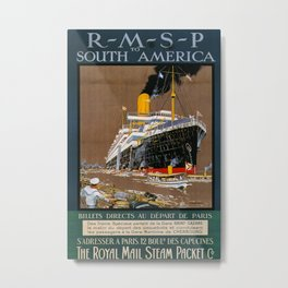 RMSP to South America Vintage Travel Poster Metal Print