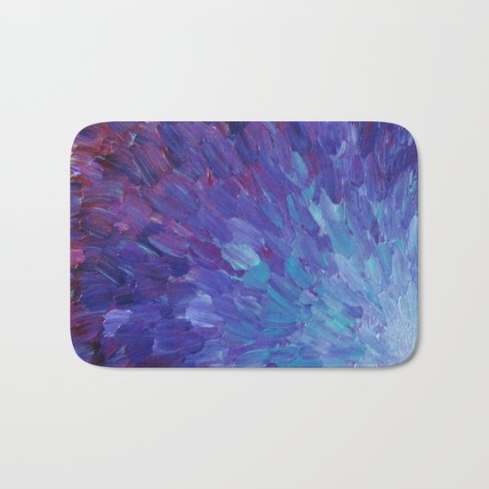SCALES OF A DIFFERENT COLOR - Abstract Acrylic Painting Eggplant Sea Scales Ocean Waves Colorful Bath Mat