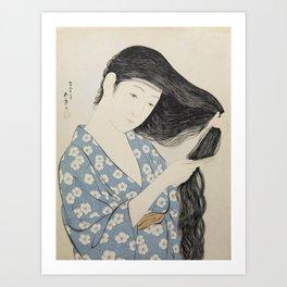 Hashiguchi Goyo: Woman Combing Her Hair Japanese Woodblock Print Blue Floral Kimono Black Hair Art Print