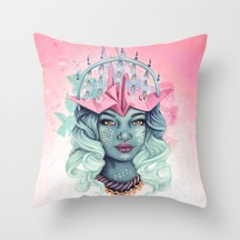 Tsuru Origami Girl Throw Pillow