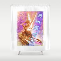 posters Shower Curtains featuring Paris Posters - Cupid + Psyche by G_Stevenson