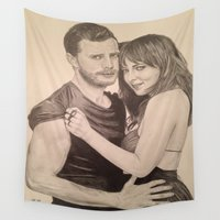 allyson johnson Wall Tapestries featuring Jamie Dornan - Dakota Johnson by Virginieferreux