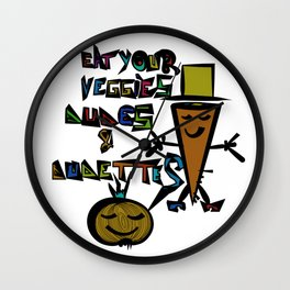 Eat your Veggies - Mr. Onion & Mr. Carrot Wall Clock